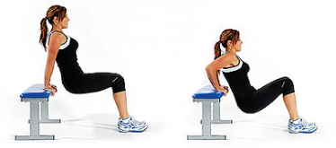 Tricep Bench Dips for toned arms